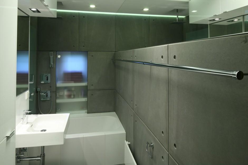 Łazienka dla rodziny – zobacz beton w roli dekoracji