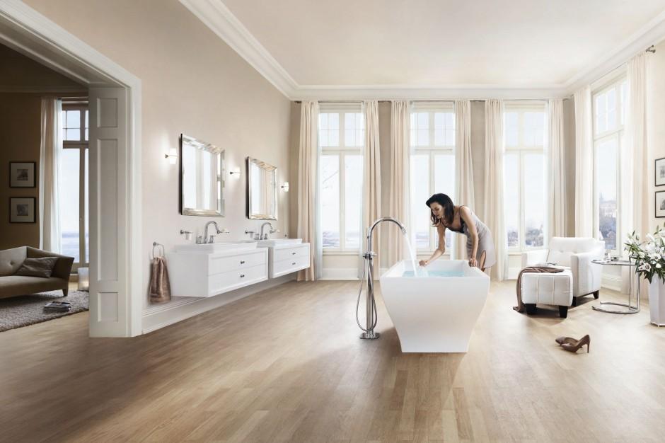 Baterie montowane w podłodze - kompletuj z wanną lub umywalką