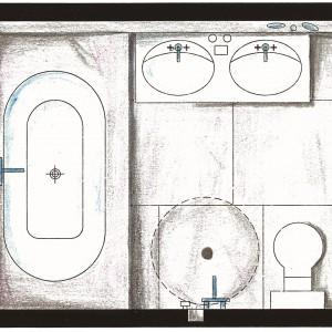 Bardzo mała łazienka – z dużą wanną, prysznicem, podwójną umywalką