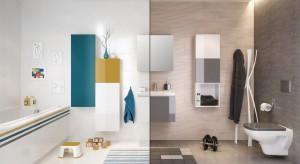 Kolorowa kolekcja mebli łazienkowych