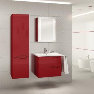 Czerwone meble do łazienki. Zobacz 10 trendowych kolekcji na tle bieli i szarości