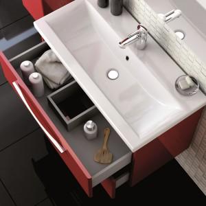 Szuflady z przegródkami i cichym domykaniem. 12 szafek pod umywalkę