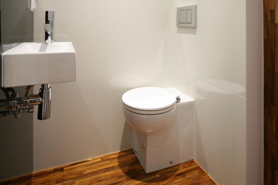 Tylko dwa metry kwadratowe – bardzo mała toaleta z parkietem na podłodze