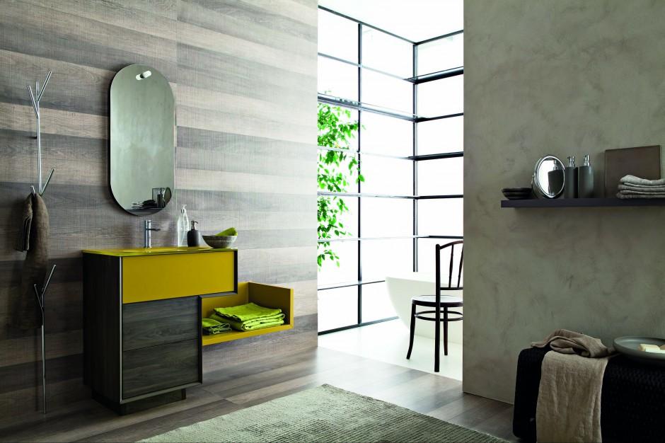 Praktyczne meble do łazienki: nowe kolekcje w kolorze żółtym