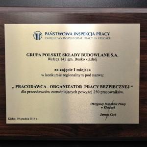 Grupa PSB nagrodzona przez Państwową Inspekcję Pracy w Kielcach