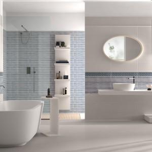 Modne płytki w paski – zobacz jak optycznie powiększają łazienkę