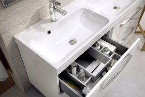 Przechowywanie w łazience: nowoczesne  szuflady pod umywalkę