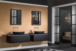 Meble do łazienki: eleganckie zestawy w ciemnych kolorach