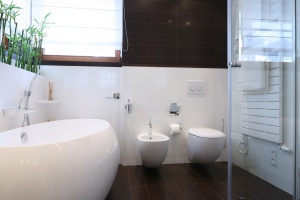 Biała łazienka dla rodziny – gotowy projekt z kwietnikiem