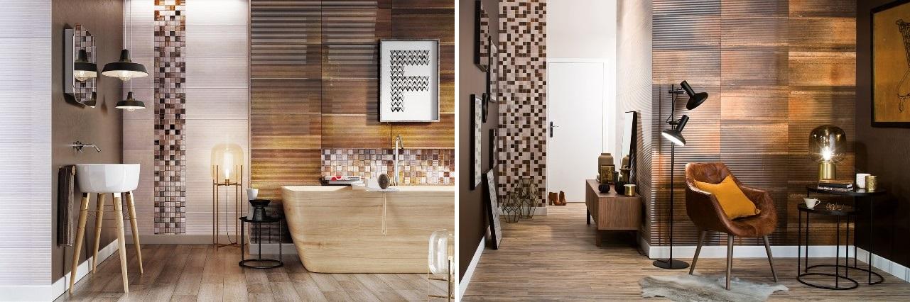 Płytki Ceramstic Structural w łazience oraz korytarzu.