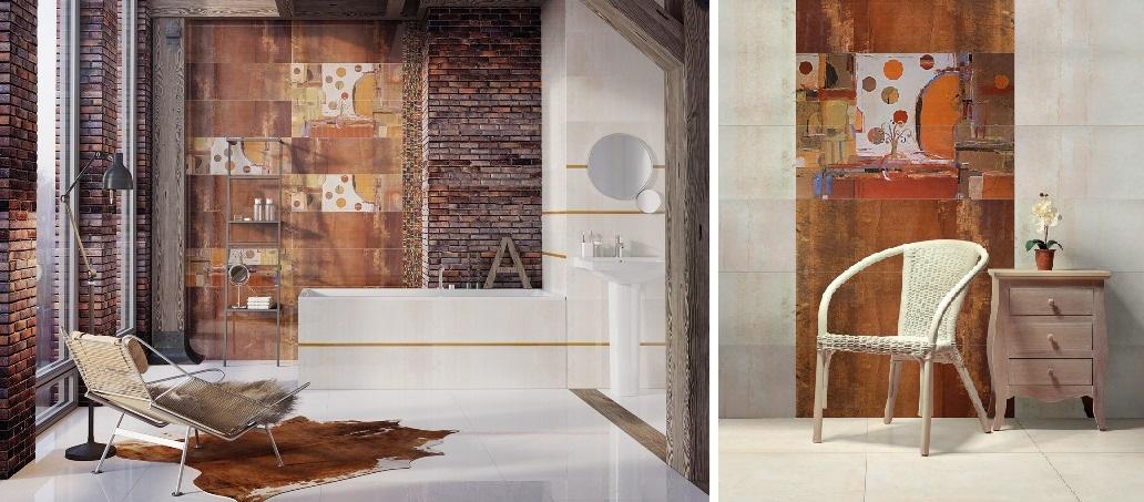 Płytki Ceramstic Impressive w łazience i salonie.