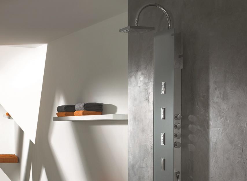 Panel prysznicowo-masażowy – model ze szkła