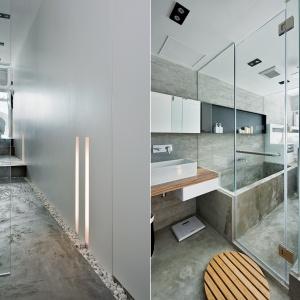 Nowoczesna łazienka: wnętrze w betonie i szkle