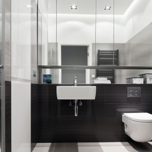 Mała łazienka w szarościach - zobacz gotowy projekt