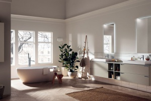Modna łazienka: wybierz meble w kolorze kawy z mlekiem