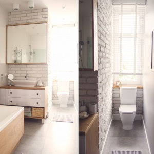 Biała łazienka ocieplona drewnem: pomysły na wystrój wnętrza
