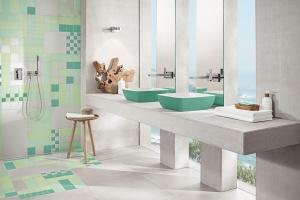Kolor w łazience: barwna strefa umywalki