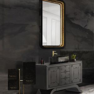 Czerń i marmur, czyli piękna dizajnerska szafka z umywalką