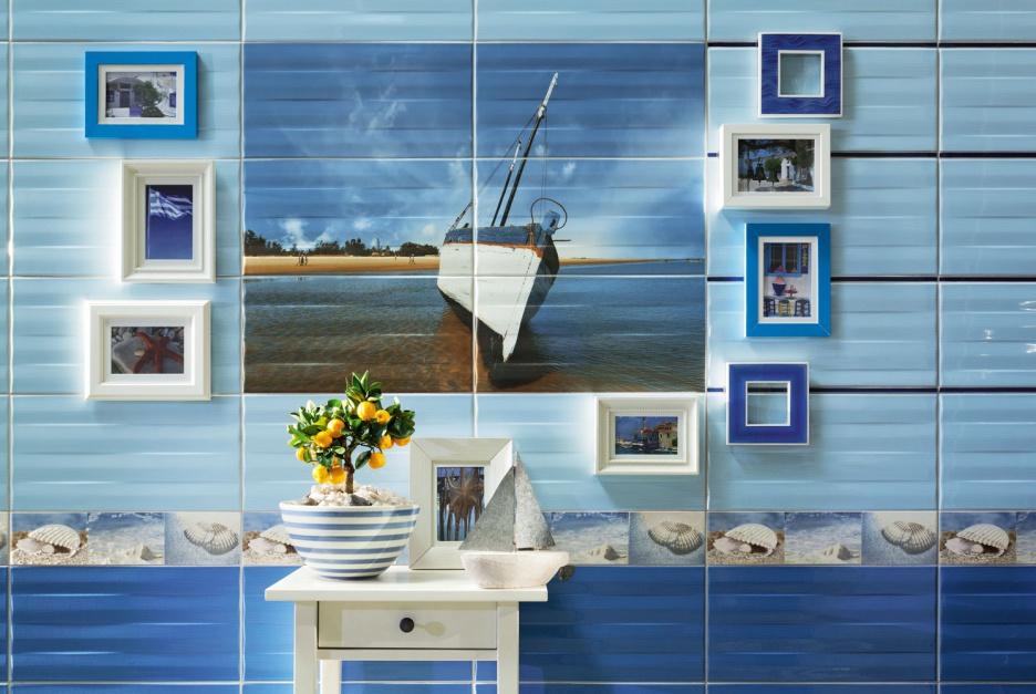 Ściana w łazience: obrazy ścienne z płytek
