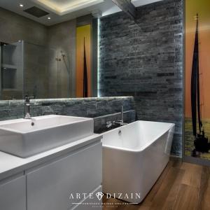 Stonowana estetyka i proste formy - łazienka o męskim charakterze