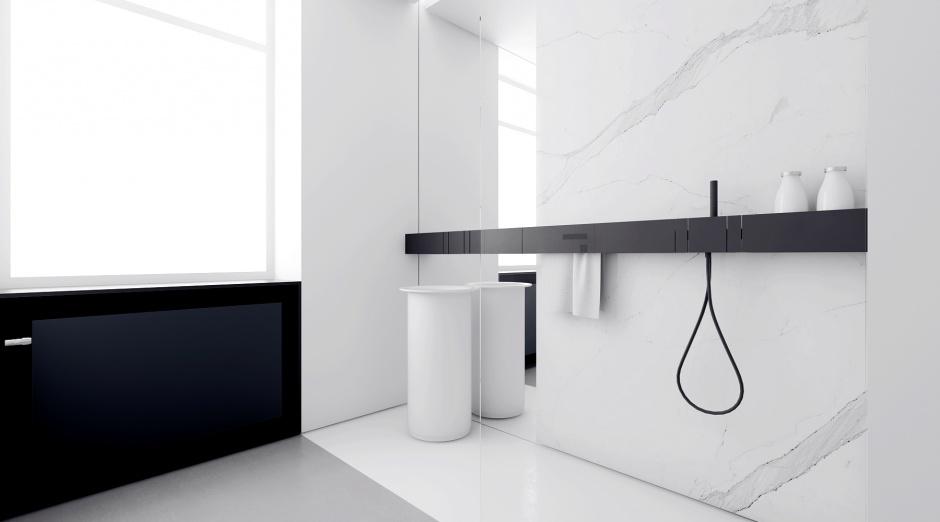 Czarno-biała łazienka: gotowy projekt w minimalistycznym stylu