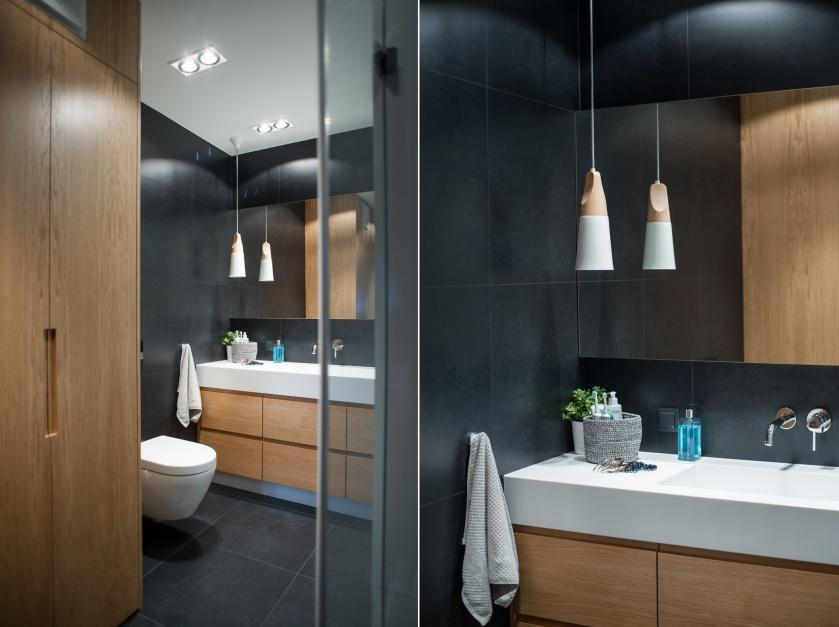 Inspirujemy Czarno Biała łazienka Ocieplona Drewnem