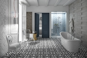 Płytki w łazience: 12 kolekcji z wzorzystym motywem