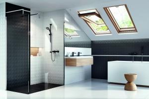 Czarno-biała łazienka: wybierz nową kolekcję płytek 3D