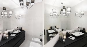 Czarno-biała łazienka w stylu glamour: gotowy projekt