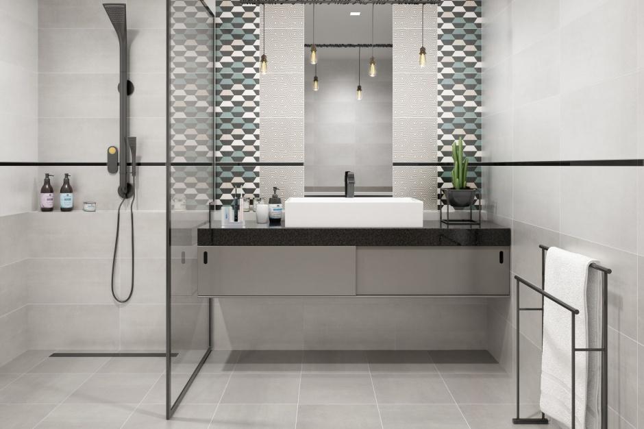 Modna łazienka: kolekcja płytek z geometrycznym motywem