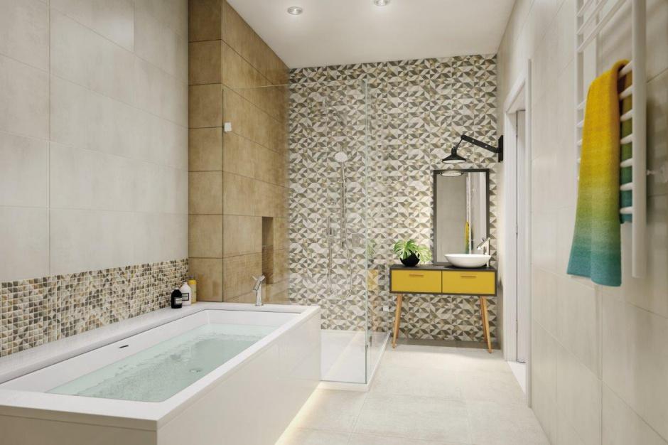 Geometria w łazience: modne motywy na płytkach