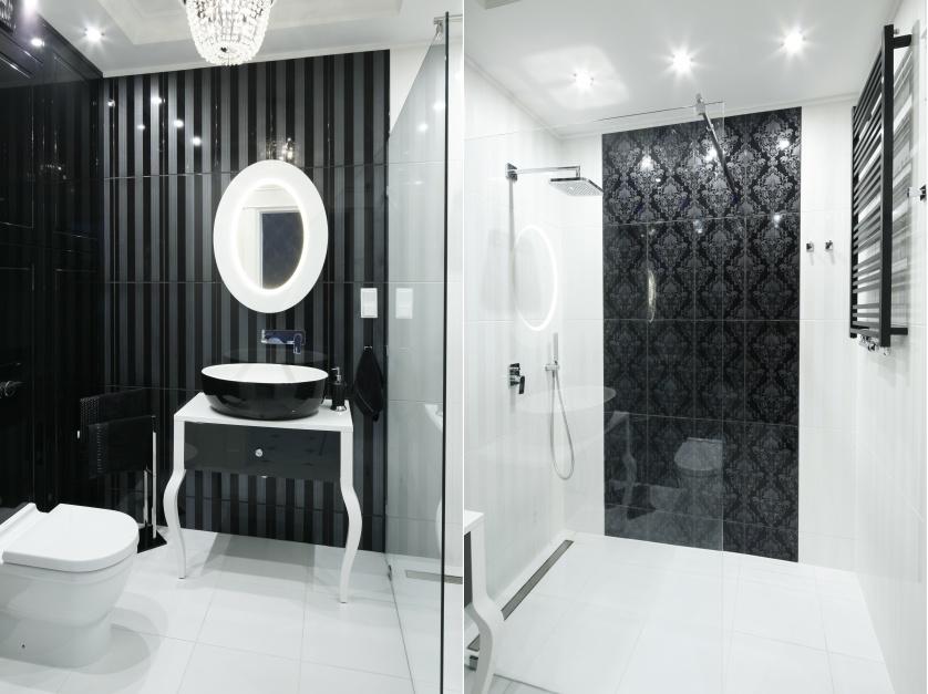 Inspirujemy Czarno Biała łazienka W Stylu Glamour Zobacz