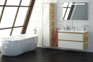Meble łazienkowe: 10 propozycji w bieli i kolorach drewna