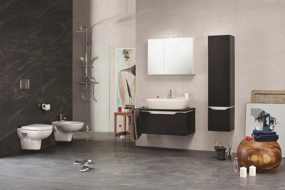 Kontrast w łazience: elegancka kolekcja mebli i ceramiki