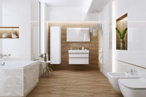 Biała łazienka ocieplona drewnem: 10 inspirujących aranżacji
