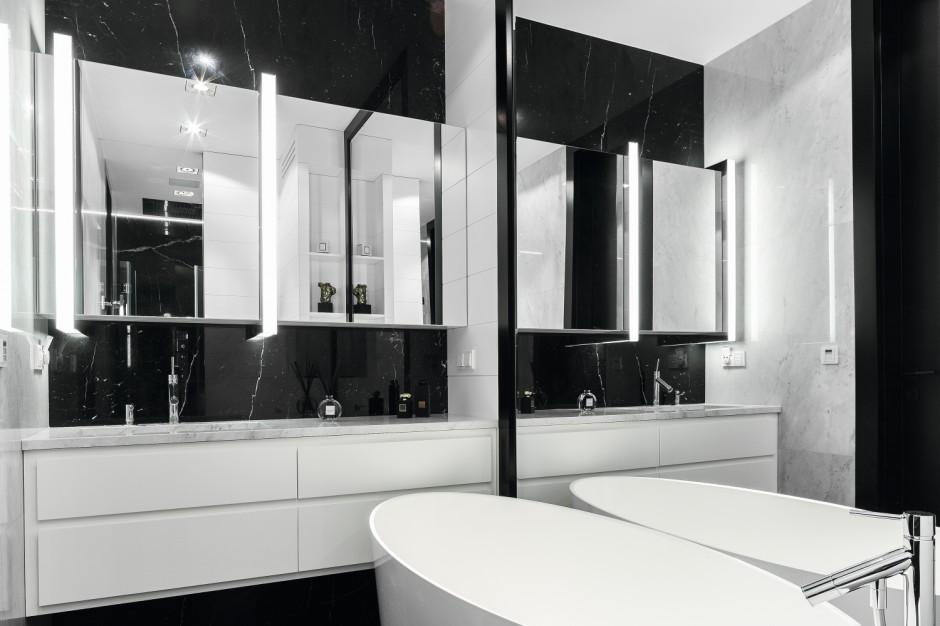 Nowoczesna łazienka 2 w 1: oryginalny projekt w czerni i bieli