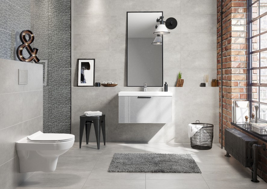 Płytki jak beton: 10 kolekcji do łazienek w stylu loft