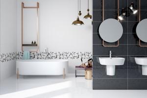 Biel w łazience: piękne płytki ceramiczne