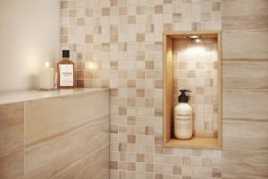 Beżowe płytki w łazience: nowe kolekcje jak drewno i kamień