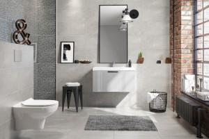 Łazienka w stylu loft: 3 kolekcje szarych płytek