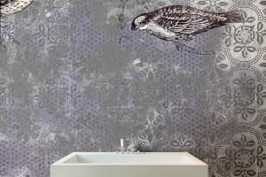 Ściana w łazience: piękne wodoodporne tapety