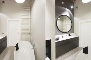 Zabudowa meblowa w łazience: postaw na szare fronty