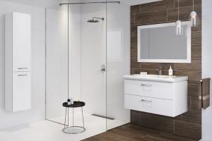 Harmonia w łazience: biel ocieplona drewnem