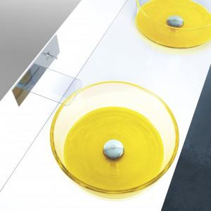 Kolor w łazience: piękna kolekcja szklanych umywalek