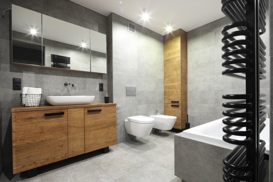 Szara łazienka: gotowy projekt z Krakowa