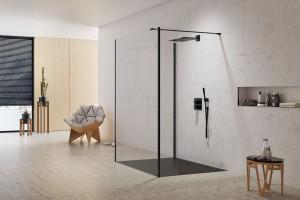 Detal w łazience: kabiny prysznicowe z czarnymi profilami
