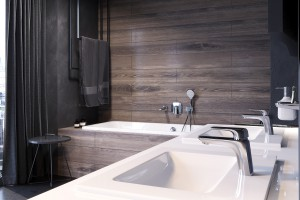 Nowoczesna łazienka: projekt z kompletnym zestawem armatury
