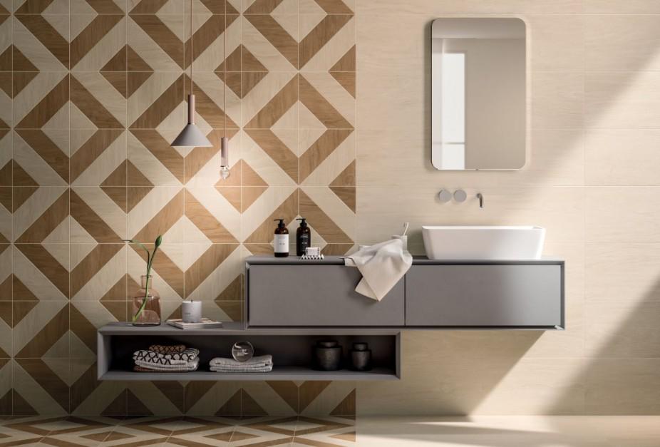 Ściany w łazience: wybierz geometryczne motywy