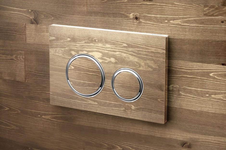 Detal w łazience: przyciski spłukujące w wyjątkowym wykończeniu