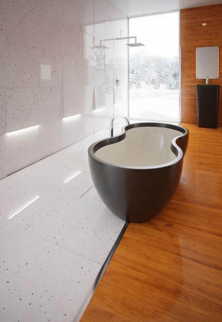 Kamień w łazience: uniwersalne połączenie czerni i bieli